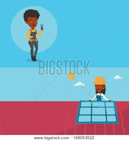 Two construction banners with space for text. Vector flat design. Horizontal layout. Repairman standing with spanner in hand. African repairman giving thumb up. Repairman in overalls holding a spanner