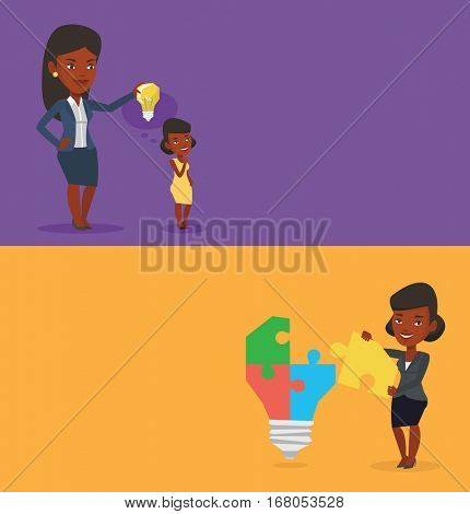 Two business banners with space for text. Vector flat design. Horizontal layout. Business woman giving idea to her partner. Woman holding light bulb over head of her collegue. Business idea concept.