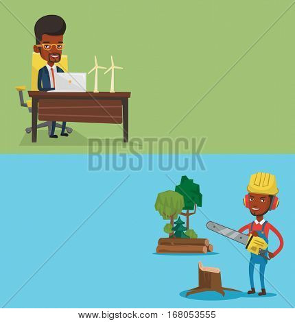Two ecology banners with space for text. Vector flat design. Horizontal layout. Engineer working on laptop. Engineer projecting wind turbines in his office. Man working with model of wind turbines.
