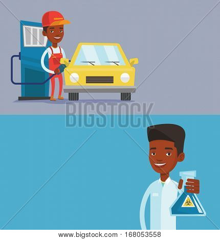 Two ecology banners with space for text. Vector flat design. Horizontal layout. Friendly worker filling up fuel into the car. Worker in workwear at the gas station. Gas station worker refueling a car.