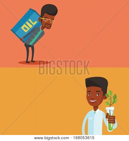Two ecology banners with space for text. Vector flat design. Horizontal layout. African-american scientist holding test tube with young plant. Scientist in medical gown analyzing plant in test tube.