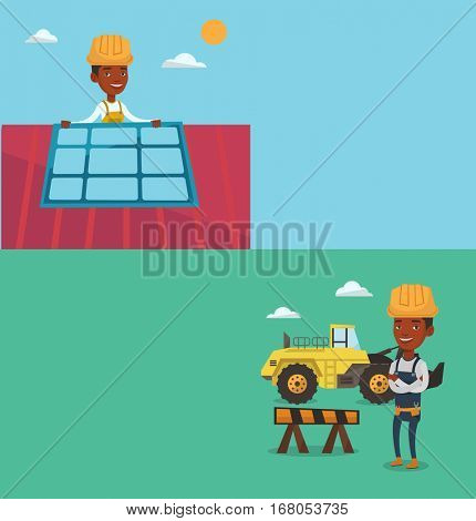Two construction banners with space for text. Vector flat design. Horizontal layout. Man installing solar panels on roof. Technician checking solar panels on roof. Technician adjusting solar panels.