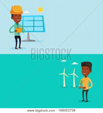 Two ecology banners with space for text. Vector flat design. Horizontal layout. African-american worker of wind farm. Young man holding green small plant in soil on the background of wind turbines.