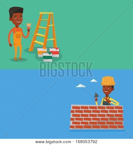 Two construction banners with space for text. Vector flat design. Horizontal layout. African house painter holding a paintbrush. House painter with paintbrush in hand. Concept of house renovation.