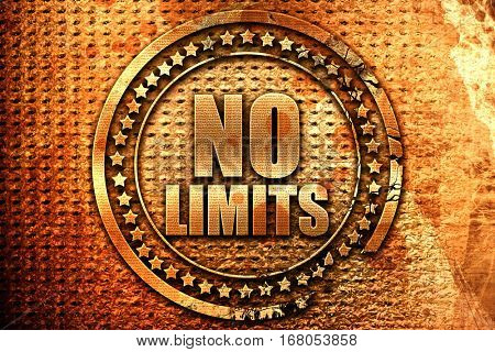 no limits, 3D rendering, grunge metal stamp