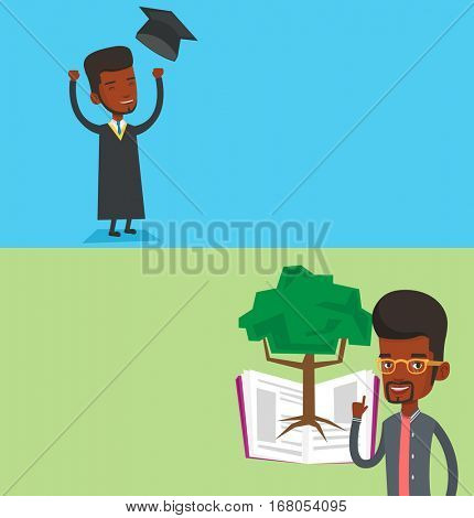 Two educational banners with space for text. Vector flat design. Horizontal layout. Excited graduate in cloak and graduation hat. Graduate throwing up his hat. Graduate with hands raised celebrating.