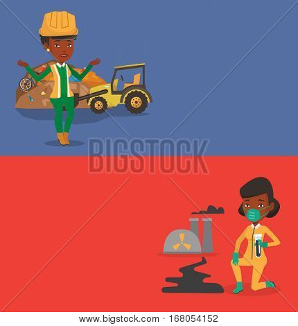 Two ecology banners with space for text. Vector flat design. Horizontal layout. African worker of rubbish dump standing with spread arms. Woman standing on the background of rubbish dump and bulldozer