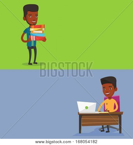 Two educational banners with space for text. Vector flat design. Horizontal layout. Student sitting at table with laptop. Student using laptop for education. Man working on laptop and writing notes.
