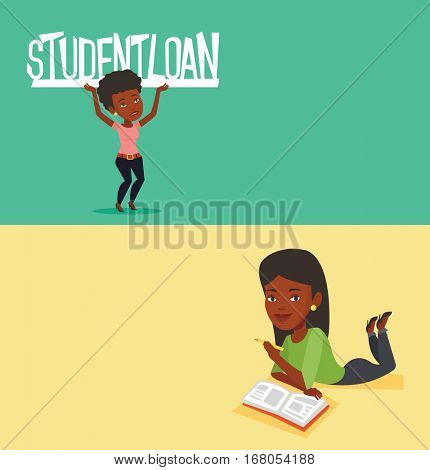 Two educational banners with space for text. Vector flat design. Horizontal layout. Student laying on the floor and reading a book. Student laying with book. Student writing while laying on the floor.