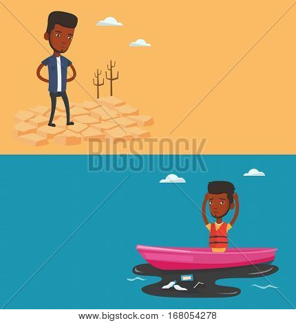 Two ecology banners with space for text. Vector flat design. Horizontal layout. Young frustrated sanitation worker working on boat to catch garbage out of polluted water. Concept of water pollution.