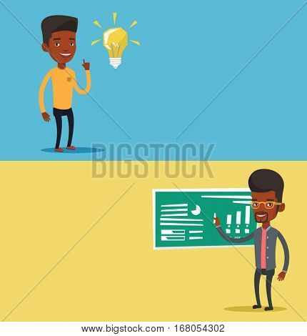 Two educational banners with space for text. Vector flat design. Horizontal layout. Teacher standing in classroom. Teacher standing near blackboard with piece of chalk. Teacher writing on chalkboard.