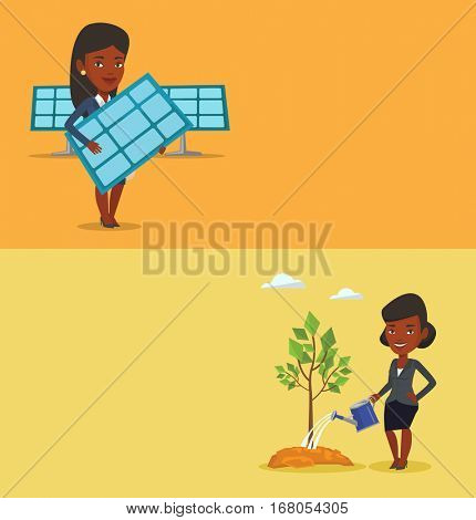 Two ecology banners with space for text. Vector flat design. Horizontal layout. An african-american woman watering tree. Young friendly woman with watering can. Concept of environmental protection.