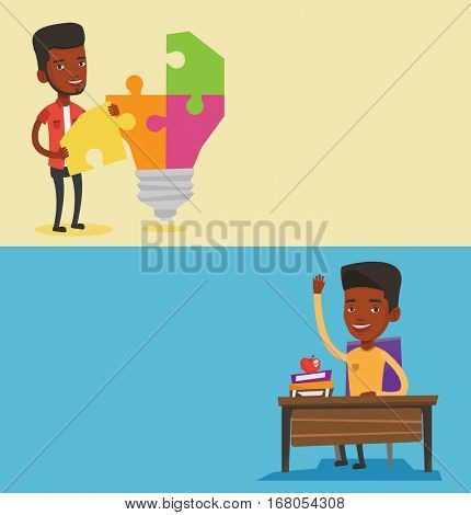 Two educational banners with space for text. Vector flat design. Horizontal layout. Student raising hand for an answer. Student sitting at the desk with raised hand. Student raising hand at seminar.