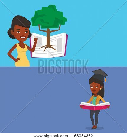 Two educational banners with space for text. Vector flat design. Horizontal layout. African student standing on the background of tree growing from open book. Student pointing at tree of knowledge.