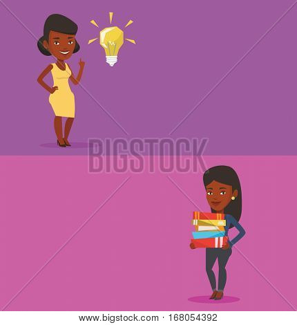 Two educational banners with space for text. Vector flat design. Horizontal layout. Woman holding a pile of textbooks. Student carrying huge stack of textbooks. Student preparing for exam with books.