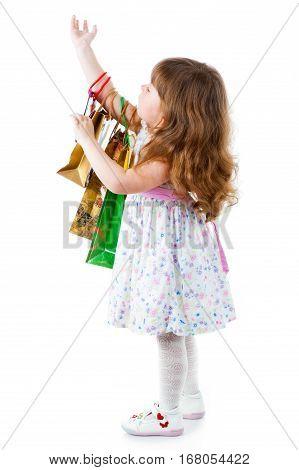 little pretty girl Shopping on white background