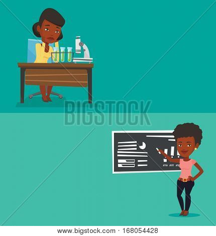 Two educational banners with space for text. Vector flat design. Horizontal layout. Student carrying out experiment in chemistry class. Girl clutching head after failed experiment in chemistry class.