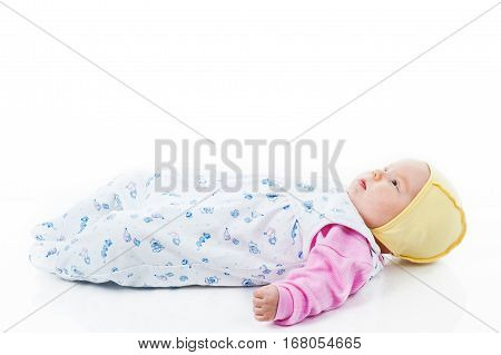 little baby girl isolated on white background