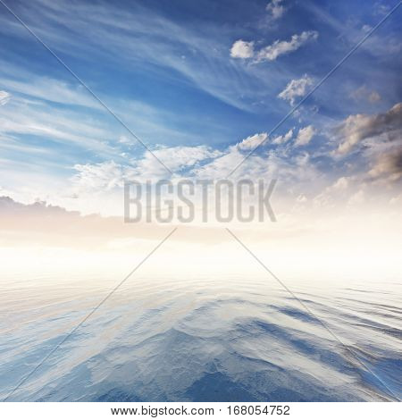 beautiful cloudy sky over tranquil sea
