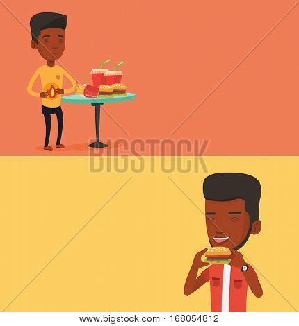 Two food banners with space for text. Vector flat design. Horizontal layout. African man eating hamburger. Happy man with closed eyes biting hamburger. Young smiling man is about to eat hamburger