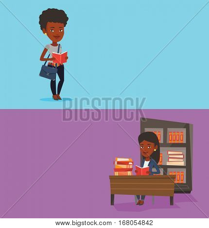 Two educational banners with space for text. Vector flat design. Horizontal layout. African student reading a book. Student reading a book and preparing for exam. Student standing with book in hands.