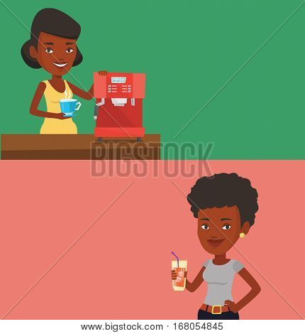 Two drinks banners with space for text. Vector flat design. Horizontal layout. An african-american woman making coffee with a coffee-machine. Young woman holding cup of hot flavoured coffee in hand.