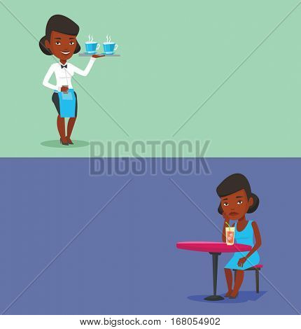 Two drinks banners with space for text. Vector flat design. Horizontal layout. African waitress holding tray with cups of tea or coffee. Waitress standing with tray with cups of hot flavoured coffee.
