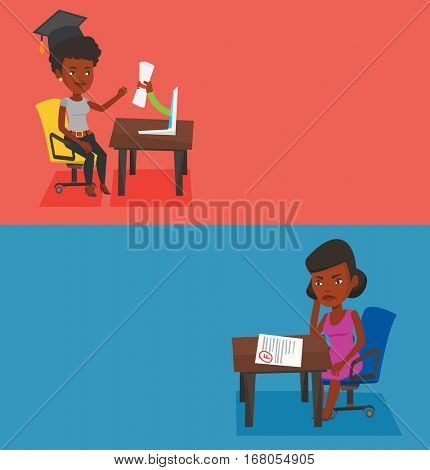 Two educational banners with space for text. Vector flat design. Horizontal layout. Sad student looking at test paper with bad mark. Student failed test. Student dissatisfied with the test results.