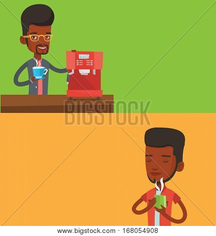 Two food banners with space for text. Vector flat design. Horizontal layout. Young african man drinking hot flavored coffee. Man holding cup of coffee with steam. Man with closed eyes enjoying coffee.