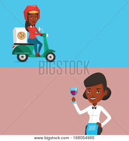 Two food and drink banners with space for text. Vector flat design. Horizontal layout. Woman delivering pizza on scooter. Courier driving a motorbike and delivering pizza. Concept of food delivery.