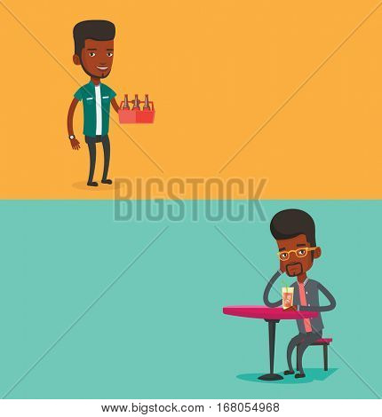 Two drinks banners with space for text. Vector flat design. Horizontal layout. Happy man holding pack of beer. Full length of cheerful man carrying a six pack of beer. Man drinking cocktail at the bar