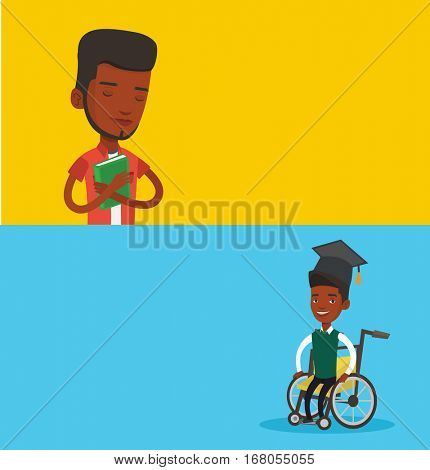 Two educational banners with space for text. Vector flat design. Horizontal layout. African graduate sitting in wheelchair. Student sitting in wheelchair. Disabled graduate sitting in wheelchair.