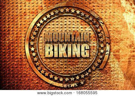 moutain biking, 3D rendering, grunge metal stamp