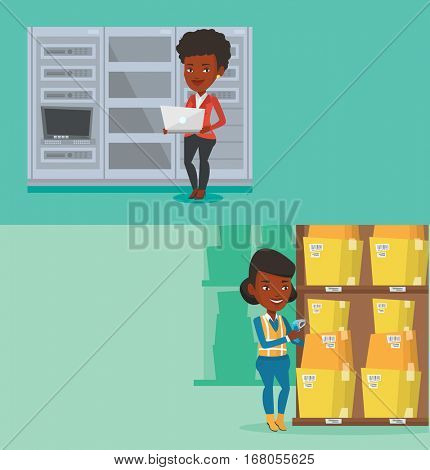 Two industrial banners with space for text. Vector flat design. Horizontal layout. African warehouse worker scanning barcode barcode of boxes with a scanner. Warehouse worker working with a scanner.