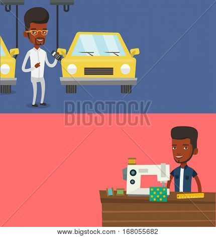 Two industrial banners with space for text. Vector flat design. Horizontal layout. worker of car factory. Man at work on car factory. Man controlling automated assembly line for cars. Car production.