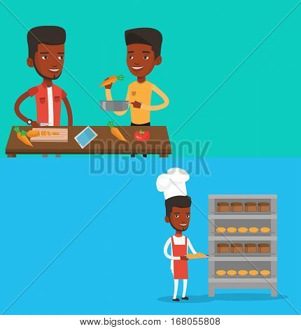 Two food banners with space for text. Vector flat design. Horizontal layout. Baker holding tray of bread in the bakery. Confident male baker standing near bread rack. African baker holding baking tray