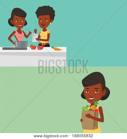 Two food banners with space for text. Vector flat design. Horizontal layout. African-american women following recipe for healthy vegetable meal on digital tablet. Young women cooking healthy meal.