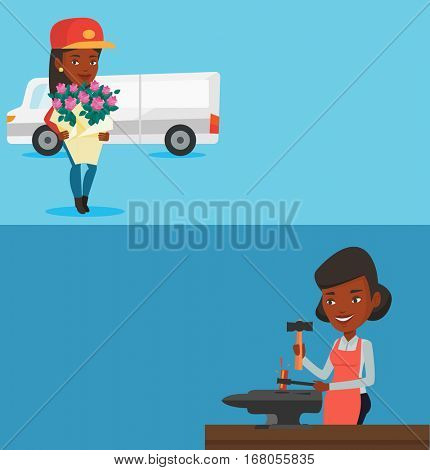 Two industrial banners with space for text. Vector flat design. Horizontal layout. African courier standig with flowers on the background of delivery truck. Delivery courier holding bouquet of flowers