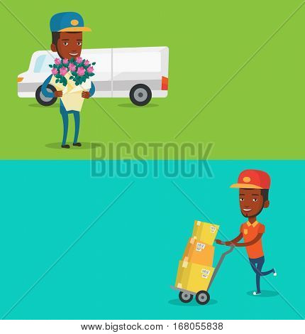 Two industrial banners with space for text. Vector flat design. Horizontal layout. African-american delivery postman pushing trolley with cardboard boxes. Young delivery postman delivering parcels.