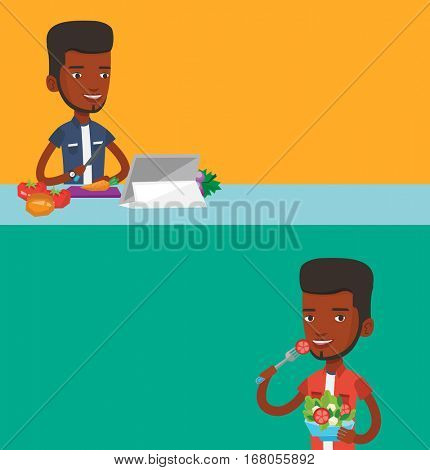 Two food banners with space for text. Vector flat design. Horizontal layout. Man cutting fresh vegetables for salad. Man following recipe for vegetable salad on digital tablet. Man eating salad.