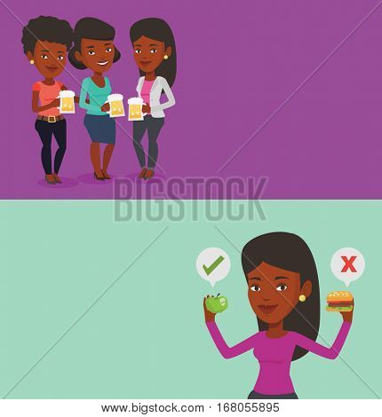 Two drinks banners with space for text. Vector flat design. Horizontal layout. Young african-american woman choosing between apple and hamburger. Woman choosing between healthy and unhealthy nutrition