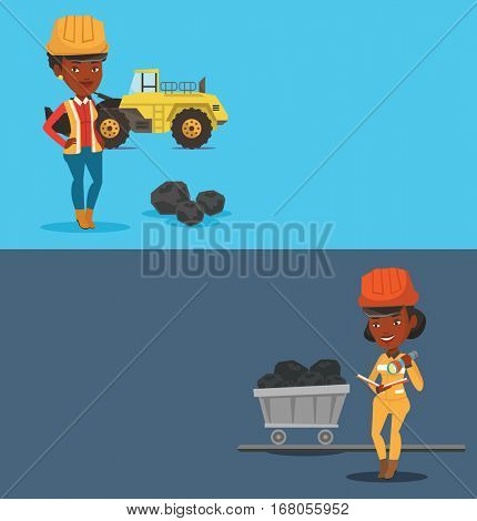 Two industrial banners with space for text. Vector flat design. Horizontal layout. Miner checking documents with the flashlight on the background of trolley with coal. Miner working at coal mine.