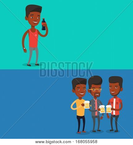 Two drinks banners with space for text. Vector flat design. Horizontal layout. Beer fans toasting and clinking glasses. Group of african friends enjoying a beer at pub. Young friends drinking beer.