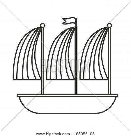 sailboat vehicle isolated icon vector illustration design
