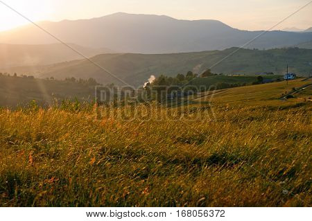 Sunset in mountains meadow, warm summer day