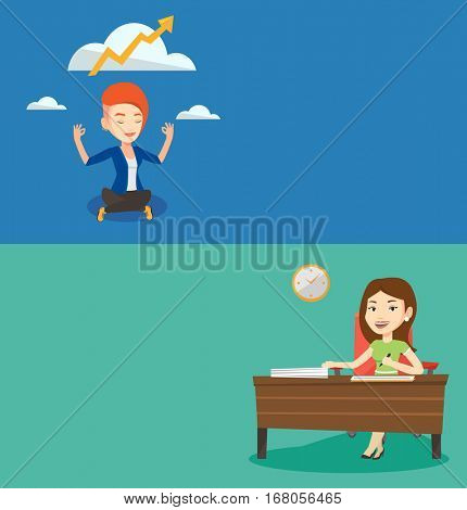 Two business banners with space for text. Vector flat design. Horizontal layout. Business woman signing contract. Woman is about to sign a contract. Confirmation of transaction by signing of contract.