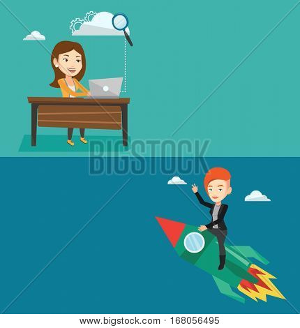 Two business banners with space for text. Vector flat design. Horizontal layout. Businesswoman working on laptop under cloud. Businesswoman using cloud computing technologies. Cloud computing concept.