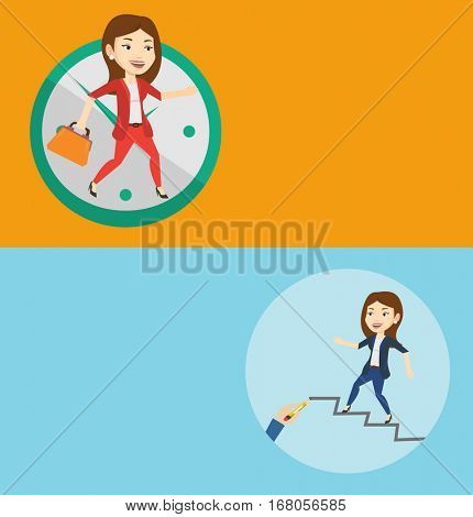 Two business banners with space for text. Vector flat design. Horizontal layout. Businesswoman running up the career ladder. Business woman climbing the career ladder. Concept of business career.