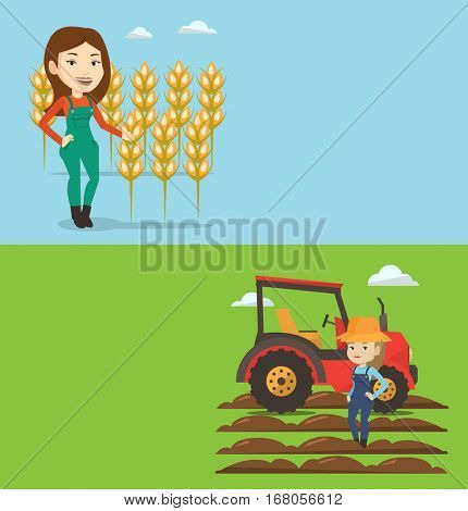 Two agricultural banners with space for text. Vector flat design. Horizontal layout. Farmer standing on the background of wheat field. Farmer working in wheat field. Farmer checking wheat harvest.