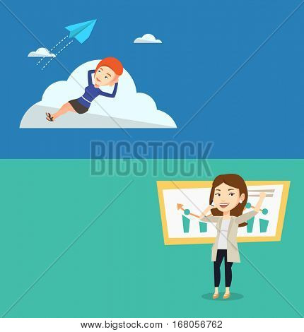 Two business banners with space for text. Vector flat design. Horizontal layout. Young caucasian business woman lying on a cloud and looking at flying paper plane. Business woman relaxing on a cloud.
